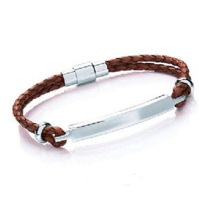Tribal Steel ID Bracelet PERSONALISED ref. TSB04, 20cm Tan Leather Strap